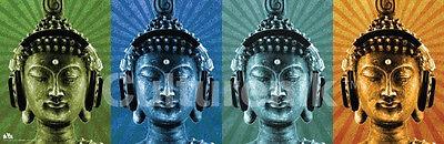 BUDDHA WEARING HEADPHONES - POP ART POSTER - 12x36 MCFLY MUSIC COLORS 0342