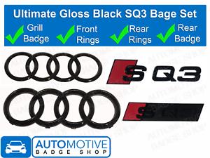 Audi-SQ3-Gloss-Black-Badge-Calandre-amp-Boot-rear-badge-embleme-Set-Anneaux