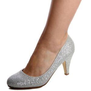 Schuhe-Pumps-Glitzer-Hochzeit-Party-Damenschuhe-High-Heels-Silber-37