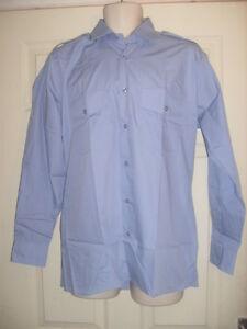 Para-Hombre-Chicos-mayores-Manga-Larga-Azul-Camisa-De-Piloto-De-Oficina-trabillas-Seguridad-Portero