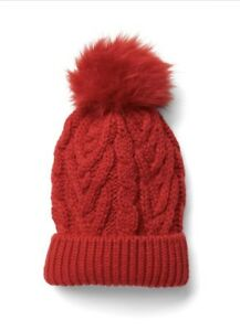 fcd983ea8d1 Gap Kids Girl Cable Knit Pom Pom Beanie Sweater Hat Red Size Small ...