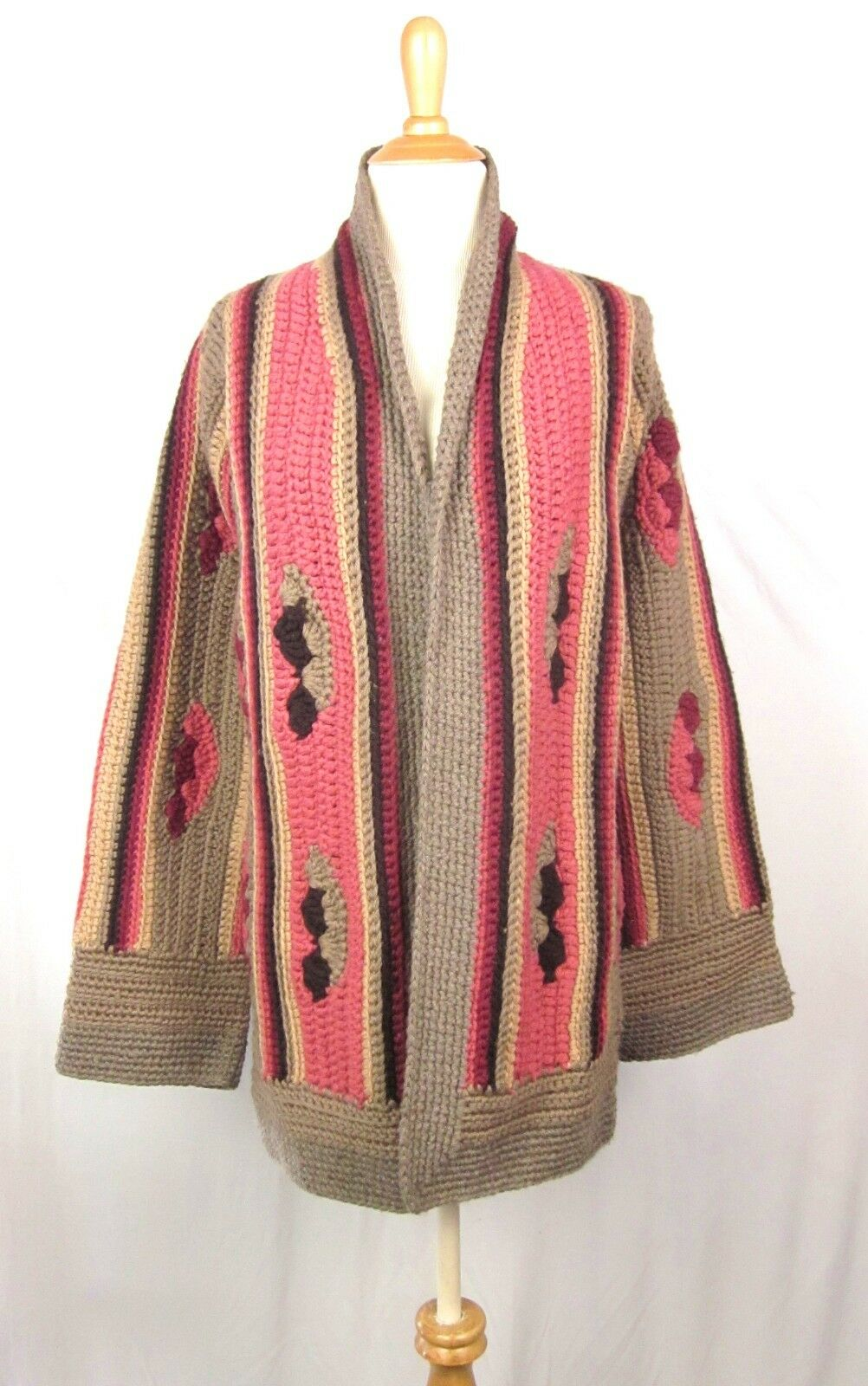 Katayone Adeli Crochet Cardigan Sweater Coat S Wool Vintage 90s Pink Brown Boho