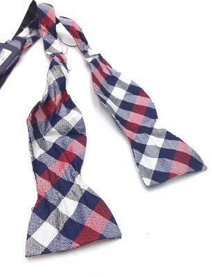 $120 TOMMY HILFIGER Mens BOW TIE CLASSIC RED SOLID SILK ADJUSTABLE DRESS BOWTIE