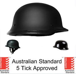 German-style-skull-cap-helmet-open-face-Matt-black-Gloss-Carbon-5-tick-approved