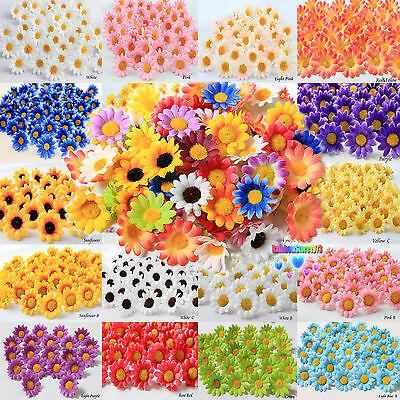 100X 50X Daisy  Artificial Silk Flower Heads Wholesale Lots  F10