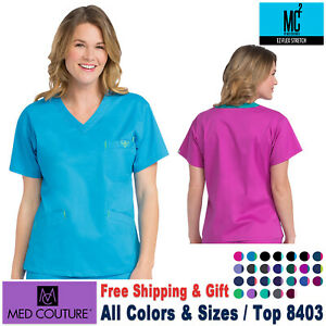 MED COUTURE Scrubs Set SIGNATURE Women/'s V-Neck Top Elastic Back Pant/_8403//8705