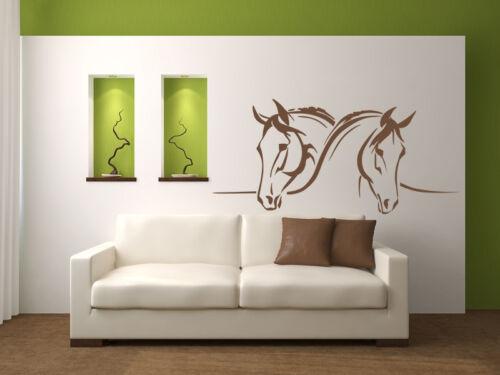 Pegatinas murales 2 caballos caballos cabezas decoración kinderzimmmer wu141x
