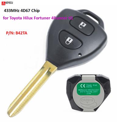 Keyecu Uncut Remote Key Fob 2 Button 433MHz 4D67 Chip for Toyota Hilux 2005-2008