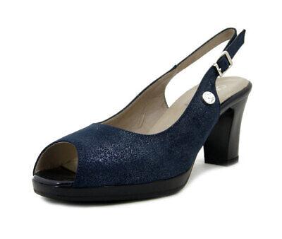 Dettagli su Scarpe Donna Sandali Eleganti Blu Tacco Medio e Plateau Pianta Larga CINZIA SOFT