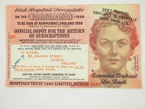 Irlandes-Sweepstakes-Oficial-Depot-Billete-Nuevo-Mercado-Inglaterra-1959