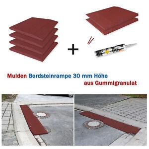 Mulden Bordsteinrampen Set 30 mm Typ I 3 m Auffahrkeil Rampe Bordstein Einfahrt