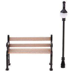MagiDeal-Dollhouse-Miniature-Garden-Decor-Furniture-Park-Bench-amp-Street-Lamp