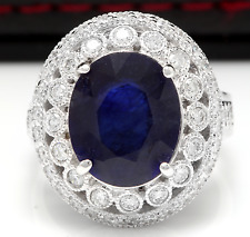 8.20Ct Natural Blue Sapphire & Diamond 14K White Solid Gold Ring