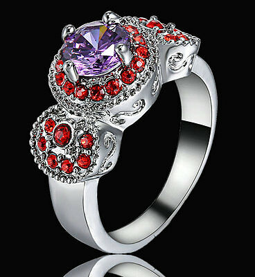 Lady Women S 14kt White Gold Filled Purple Amethyst Bridal Wedding