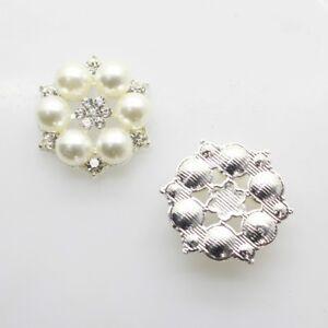 Pearl-Rhinestones-Buttons-Wedding-Dress-Flower-Button-Round-Charm-Ornament-10PCS