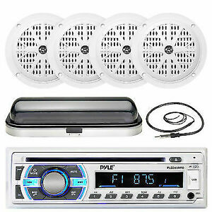"""4/"""" 100W Marine White Speakers Pyle AUX SD USB Bluetooth Receiver,Cover Antenna"""