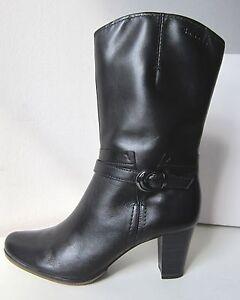 Details zu Tamaris halbhohe Stiefel Stiefeletten schwarz Gr 39 boots bootee black 34 hoch