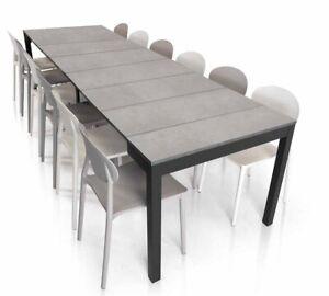 Consolle Allungabile 300cm 14 Posti Base Metallo Tavolo Design Moderno Cucina Ebay