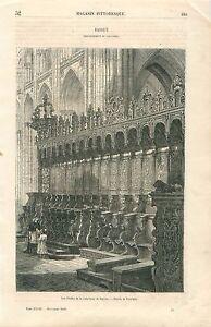 Stalles-Cathedrale-Notre-Dame-de-Bayeux-Calvados-Normandie-GRAVURE-PRINT-1860