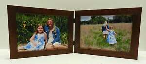 8x10-Brown-Walnut-Stain-Double-Hinged-Horizontal-Wood-Photo-Picture-Frame-New