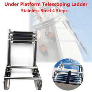 Stainless-Steel-4-Steps-Under-Platform-Boat-Boarding-Telescoping-Folding-Ladder