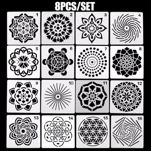 8pcs DIY Mandala Auxiliary Painting Template Drawing Board Stencils Scrapbooking