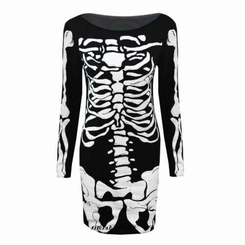 New Ladies Halloween Skeleton Skull Bones Print Stretchy Bodycon Dress Plus Size