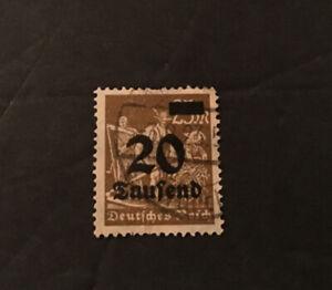 WEIMAR REPUBLIC 1923 - OVERPRINT 20  WORKERS STAMP USED    LOT 2