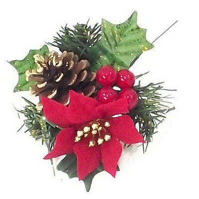 Natale Artificiale Glitter Holly Pick Con Bacche Poinsettia Cono & Rosso Verde- I Cataloghi Saranno Inviati Su Richiesta