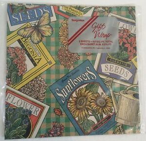 Details About New Vintage Sangamon Flower Seed Packet Gift Wrap Wrapping Paper