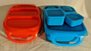 Lot-of-4-Goodbyn-Lunch-Box-Containers-1-Red-bynto-1-Blue-Hero-set-w2-blue-minis