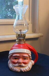 Vintage-Japan-Santa-Oil-lamp-or-Lantern-with-Chimney-1950-039-s