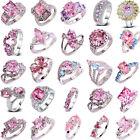 40 Styles Fashion Women Pink Topaz Gemstone Silver Ring Jewelry Gift Size 6-13