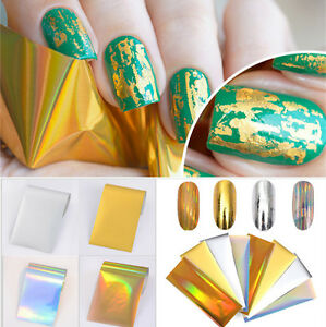 8pcs Laser Starry Nail Foil Holographic Gold Silver Manicure Nail