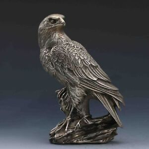 China-antique-copper-silvering-hand-carving-bird-eagle-Statue