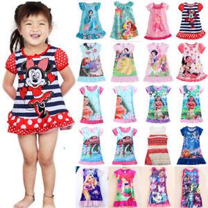 Image is loading Girls-Kids-Sleepwear-Princess-Sleep-Casual-Dress-Pjs- 613b3ba9c
