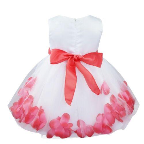 UK Flower Girl Princess Party Dress Sash Dress Wedding Bridesmaid Bow Tutu Dress