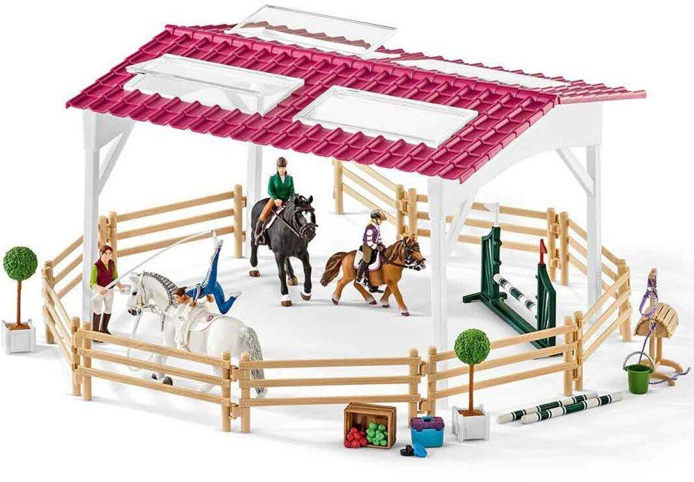 SCHLEICH 42389-Scuola di equitazione con cavaliere interno e cavalli, Nuovo/Scatola Originale