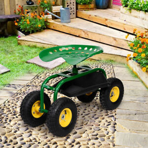 Rolling Garden Cart Work Seat With Heavy Duty Tool Tray Gardening