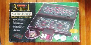 Excalibur 3 In 1 Casino House Craps Roulette Black Jack Game Vegas New Open Box