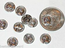 5pc Miniature dollhouse tiny little Silver money Coins charms flat backs 8mm NEW