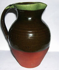 Wattisfield Ware SFK Studio Pottery - Large Half Glazed Classic Jug - Stamped.