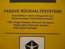 Werkstatthandbuch Dodge Shadow Spirit Plymouth Sundance Jeep Grand Cherokee  94