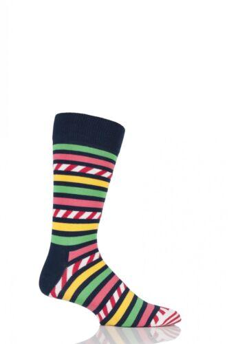 Mens and Ladies 1 Pair Happy Socks Stripe on Stripe Combed Cotton Socks