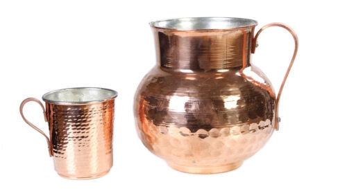 Handgefertigter Kupfer Krug und becher set,Reines Kupfer gehämmerter geschenkset