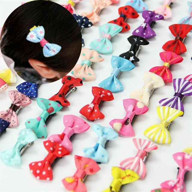 Baby Toddler Girl Hair Clip Ribbon Bow Kids Satin Bowknot Grosgrain Hairpin