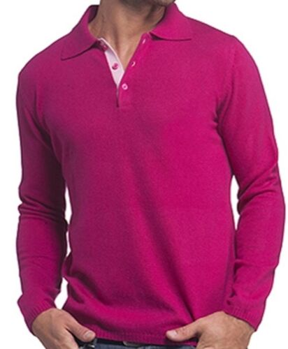 Balldiri 100/% cashmere homme polo manches longues 2-fädig Magenta-rose M