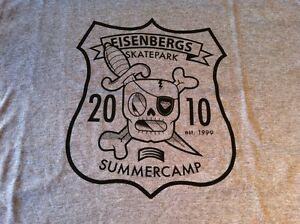 Eisenbergs SUMMER CAMP 2010 TEE SHIRT, GREY, SKATE/BIKE/SCOOTER NEW