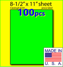 G101 100 Green Fluorescent Shipping Labels8 12x11