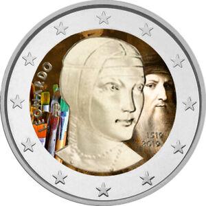 2-Euro-Gedenkmuenze-Italien-2019-Da-Vinci-coloriert-mit-Farbe-Farbmuenze-1